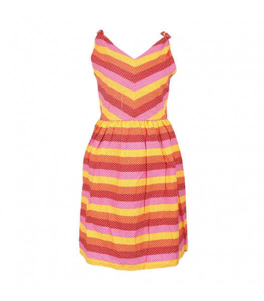 Rare Editions Fush/Yellow/Orange Dotted Striipped Sundress