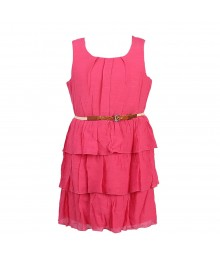 2 - Hip Pink Belted Tiered Gauze Dress Big Girl