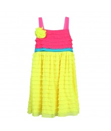 Rare Editions Yellow/Pink Color Block Eyelash-Trimmed Dress