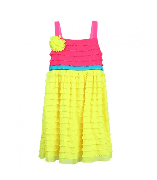 Rare Editions Yellow/Pink Color Block Eyelash-Trimmed Dress