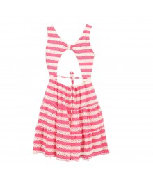 Bloome Pink/White Stripped Sleeveless Lace Sun Dress