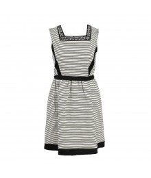 Monteau Black/White Stripped Stone-Embellished Sqaure Neck Dress