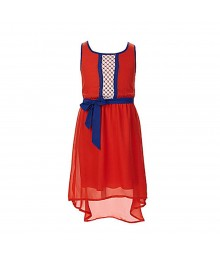 2 - Hip Red/Blue Hi-Low Chiffon Self Belt Dress