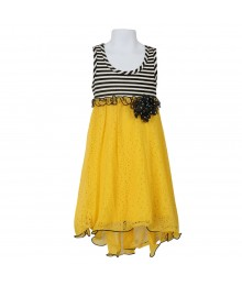 Bonnie Jean Black/White Stripped Knit Wt Yellow Peforated Chiffon Hi-Low Dress