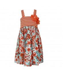 Bonnie Jean Grey/Peach Stripped Knit Paisley Dress