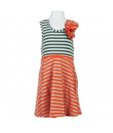 Bonnie Jean Coral/Teal/Grey Stripped Kni Sundress Little Girl