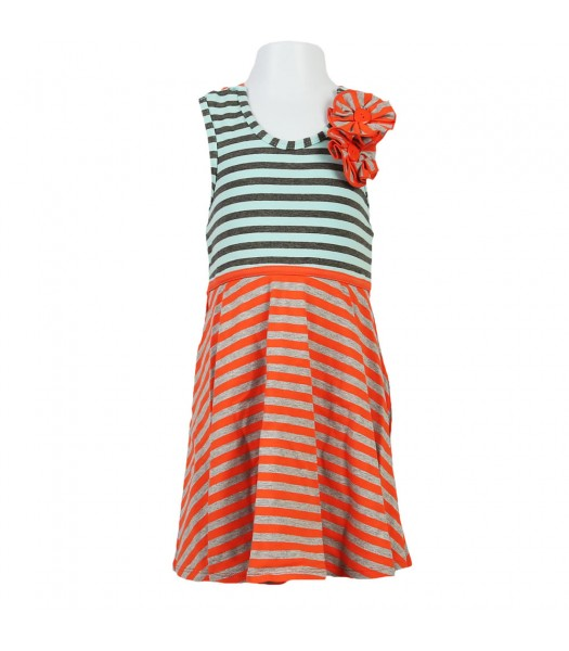 Bonnie Jean Coral/Teal/Grey Stripped Kni Sundress