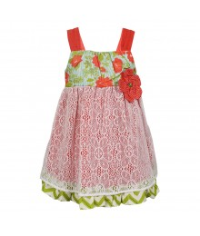 Counting Daisies Peach/Turq Sundress Wt Lace Overlay Little Girl