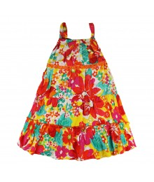 Sweet Heart Rose Orange/Fush Floral Multi Tiered Spagh Dress
