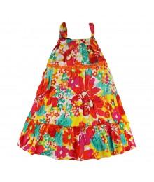 Sweet Heart Rose Orange/Fush Floral Multi Tiered Spagh Dress