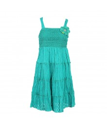 Bloome Green Polka Crochet Tiered Spagh Dress
