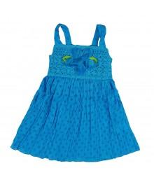 Sweet Heart Rose Turq Crochet  Crinkled Tiered Dress