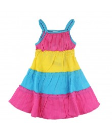 Younglang Yellow/Pink/Turq Tiered Gauze Sundress