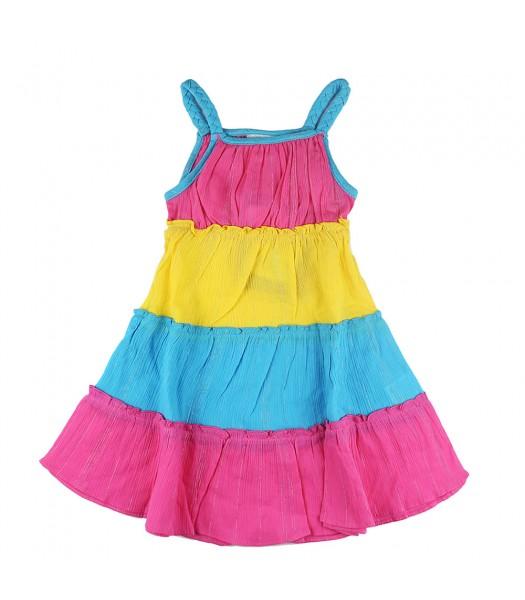 Younglang Yellow/Pink/Turq Tiered Gauze Sundress