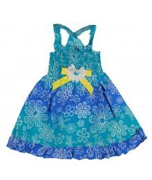 Sophie Rose Turq Floral Tie N Dye Cross-Back Sun Dress