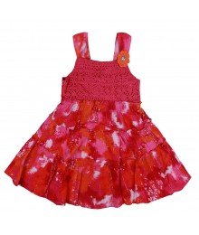 Youngland Pink/Fush Tie And Dye Tiered Crochet Dress Little Girl