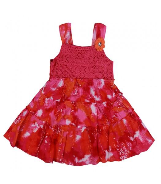 Youngland Pink/Fush Tie And Dye Tiered Crochet Dress