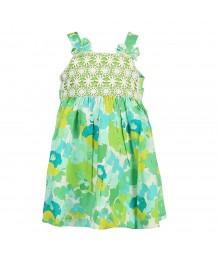 Blueberi Green Floral Boulevard Wt Crochet Sundress