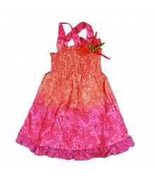 Sophie Rose Orange/Pink Floral Tie And Dye Smoked Cross Back Dress Little Girl
