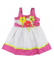 Youngland White Dress Pink.Lemon N Polka Ribbon Applique