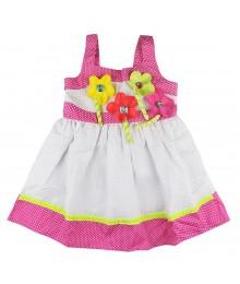 Youngland White Dress Pink.Lemon N Polka Ribbon Applique