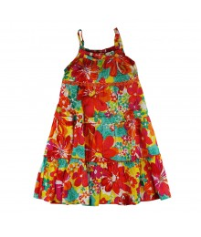Youngland Orange Multi Floral Sundress
