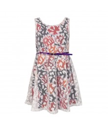 Youngland Purple Floral Wt White Overlay Lace Belted Dress