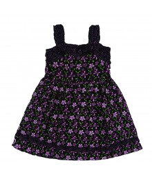 Youngland Black Wt Purple/Green Floral Sundress Little Girl