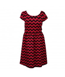 George Pink Wt Black Zig Zag Dress Big Girl