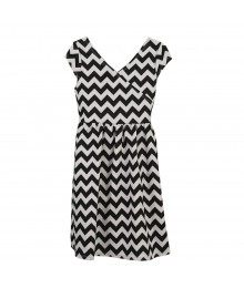 George White Wt Black Zig Zag Dress