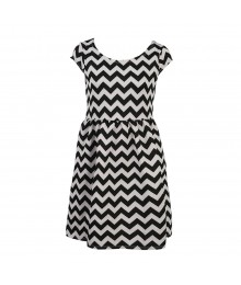 George White Wt Black Zig Zag Dress Little Girl