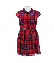 Faded Glory Pink/Purle Plaid Chifon Shirt Belted Dress