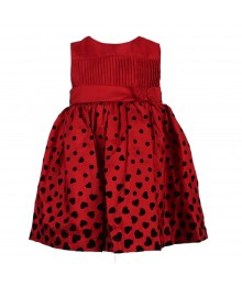 Penelope Mack Red Pleated Bodice Tafetta Dress Baby Girl
