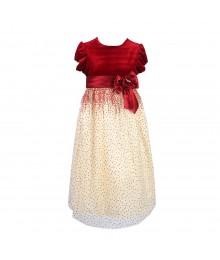 Jayne Copeand Red Velet Dres Wt Ivory Net N Red Shimmer Dots