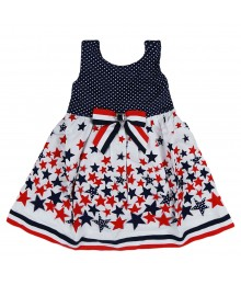 Youngland Navy/Red/White Star N Dotted Sundress Little Girl