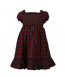 Chaps Red/Green Multi Plaid Dress