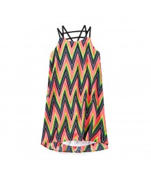 Gb Girls Multi Colored Strappy Back Chevron Print Shift Dress Big Girl