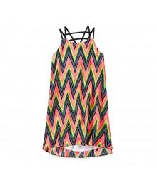 Gb Girls Multi Colored Strappy Back Chevron Print Shift Dress
