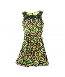 Gb Girls Multi Print Illusion Neck Dress