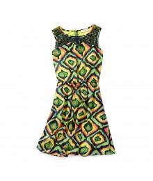 Gb Girls Multi Print Illusion Neck Dress