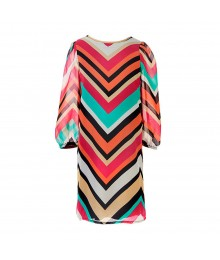 Ruby Rox Multi Stripped Chevron Print Chiffon Shift Dress