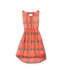 Gb Girls Coral Plaid Bow Back Hi-Lo Dress
