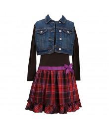 Bonnie Jean Denim Vest N Drop Waist Plaid Dress