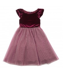 Rare Editions Burgundy Velvet Dress Wt Gold Shimmer Dust Net Skirt