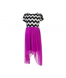 Ruby Rox Black/White Zigzag Print Bodice N Lilac Chiffon Shack Bite Skirt Dress