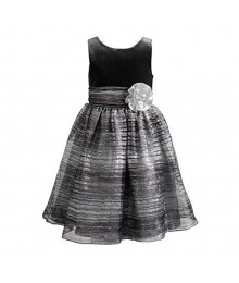 Sweet Heart Grey/Black Stripped Sparkle Organza Wt Grey Velvet