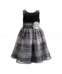 Sweet Heart Grey/Black Stripped Sparkle Organza Wt Grey Velvet