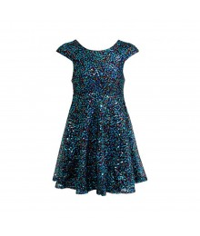 Bloome Turq/Teal Multi Sequind Skater Dress