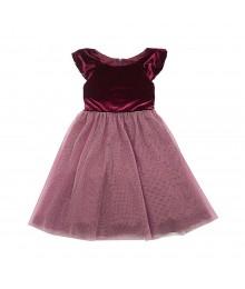 Rare Editions Burgundy Velvet Dress Wt Gold Shimmer Dust Net Skirt