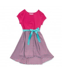 Pinky Pink/Turq Chiffon Girls Dress